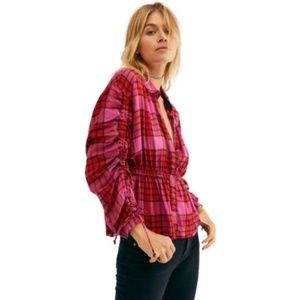 NWT Free People Pacific Dawn Plaid Shirt Red Combo